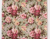 "Vintage Barkcloth Curtain Fabric Panel Celadon Green Pink Peonies Classic Barkcloth 45"" x 60"""