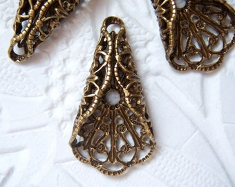 2 -Antiqued brass filigree cone wrap connector pendant drops -FO210