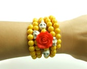 Day of the Dead Skull Red Rose Wrap Around Memory Bracelet, Jewelry