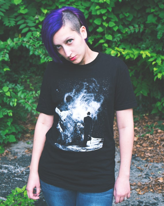 Space T-shirt Mens / Unisex black shirt. Galaxy Shirt. 'The Space Unknown'