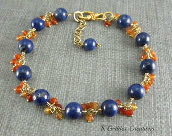 Gold Lapis Lazuli Bracelet, Carnelian, 14k Gold Filled, Navy Blue Gemstone, Lapis Lazuli Carnelian Cluster Bracelet