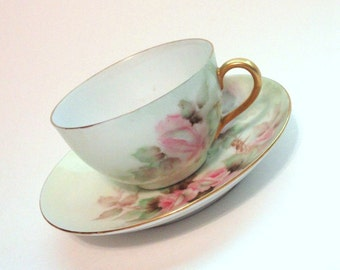 Antique O. & E.G. Royal Austria Hand Painted Porcelain Teacup and Saucer Pink Roses// Vintage Shabby Chic Cup and Saucer Set