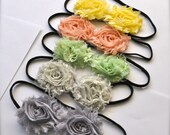 Shabby blossom headband for women or girls. Special offer 3 for 18. Over 70 colors and prints available.