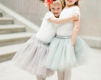 Flower Girl tutu tulle skirt. Classic girls fluffy tutu. This style was featured in Martha Stewart Weddings. Comes in many colors.