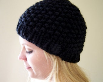 Knit Chunky Hat Black, Chunky Knit Beanie Hat, Black Chunky Knit Toque, Knit Winter Hat Black, Big Knit Black Winter Hat, Knit Black Toque