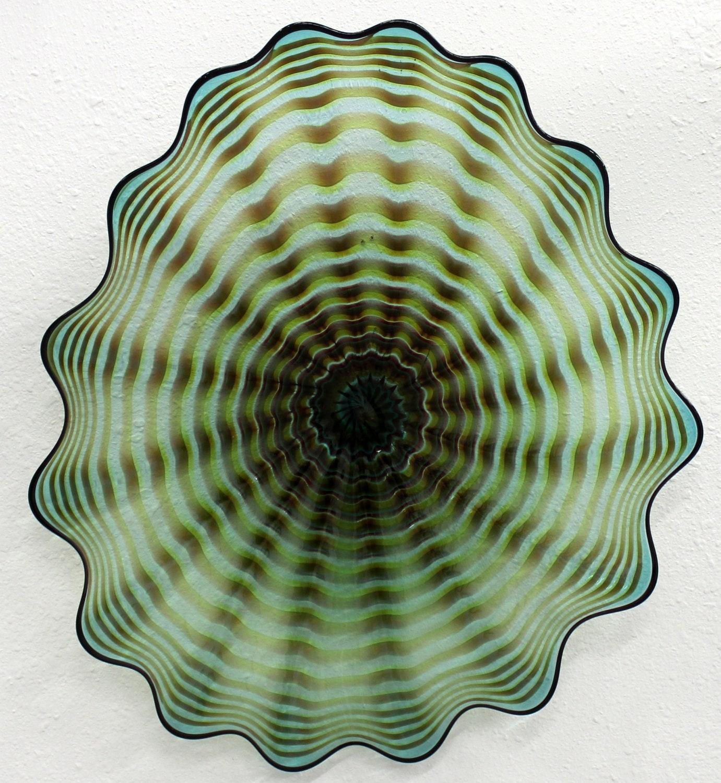 beautiful hand blown glass art wall platter bowl 4504 oneil. Black Bedroom Furniture Sets. Home Design Ideas