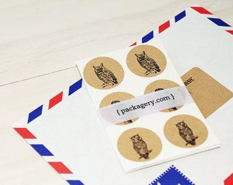 Little Owls Brown Kraft Envelope Seal Stickers
