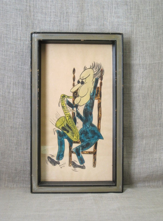 Male Portrait Musician Mid-Century Art Colored Drawing Original Art Watercolor Painting Musical Vintage Art Gallery