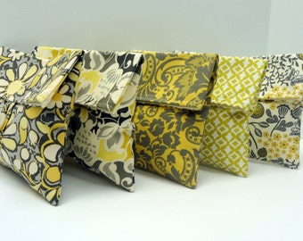 READY TO SHIP Bridesmaid Clutch Purses Set of 5 Bridesmaid Gifts Colors Include Taupe Gray Yellow Ivory