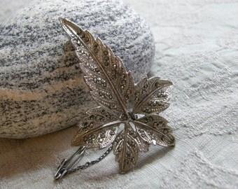 Vintage silver tone marcasite leaf brooch circa the 1930's