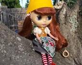 Yellow felt Gnome Cap Hat helmet for Blythe