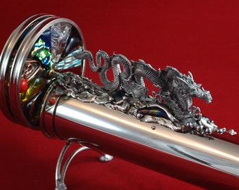 Silver Kaleidoscope with the Water Dragon kiln fired glass dichroic on wheels