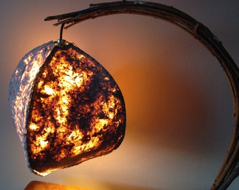 """Hand Made Curved Willow Table Lamp - """"The Meteorite"""""""