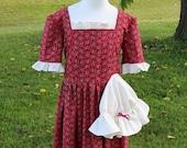 Girl's Colonial Dress w/ Mob Cap Sizes 7-10