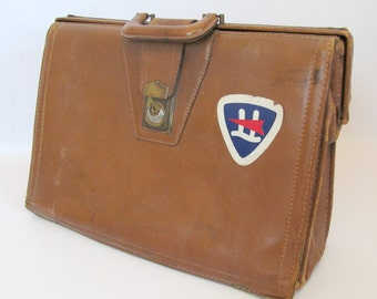 Vintage 1940s 1950s Leather Dopp Chicago Brown Briefcase Doctor's Bag
