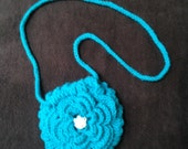 Flower Purse Crocheted in Turquoise Sparkle Yarn with Button Closure