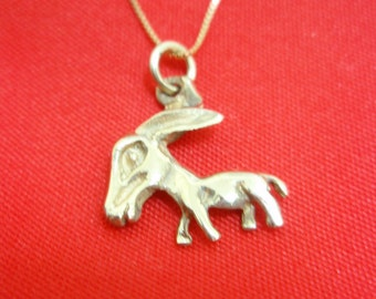 Pendant Donkey Mule 3d Nice Charm Solid 14k Yellow Gold By Delini Israel