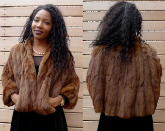 Vintage 50s 60s Brown Fur Wrap // Vintage Stole Cape Jacket//