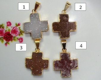 Druzy Drusy Cross Charm Pendant, 24K Gold Electroplated, Sale Item, 18% off, F19-2