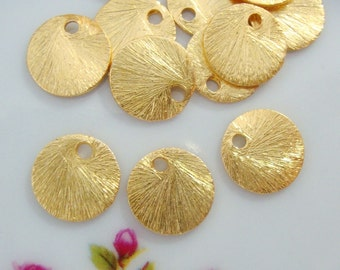 Handmade Vermeil Brushed Disc, Tag, Links, 8mm, 2 pcs, 24k Vermeil Brushed Textured Round Disc Links