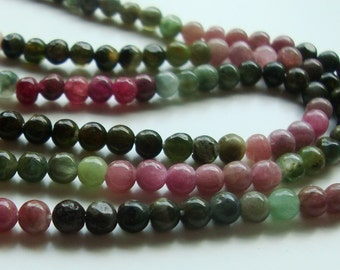 Gorgeous Watermelon Opaque Tourmaline Smooth Round Beads, 35% off, 5 x Full 14.5 Inch Strand, 3-3.5mm - sale