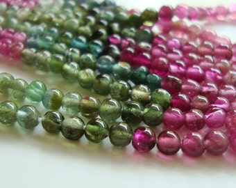 Reduced from 33.60, 2x14.5 Inch Strand, 3mm, Gorgeous Watermelon Sparkling Tourmaline cute Smooth Round Beads