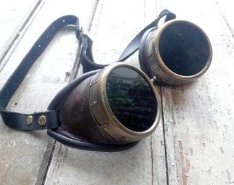 Dark Brown Leather and Gold Steampunk Goggles