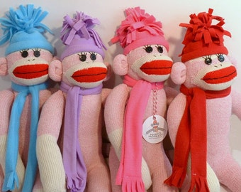 Sock Monkey Doll with Choice of Hat and Scarf Color, Pink Sock Monkey