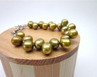 Amber Pearl Bracelet -- Fresh Water Pearl Jewelry -- Golden Pearl Bracelet -- Beaded Amber Bracelet -- Dark Yellow Bracelet