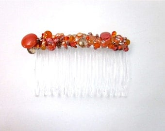 Orange Hair Accessory -- Orange Hair Jewelry -- Orange Bead Hair Clip -- Beaded Hair Comb -- Orange Hair Comb -- One of a Kind Hair Comb