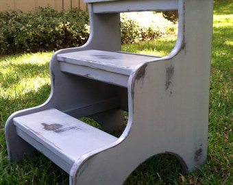 Bed steps gray distressed dog steps can be customized