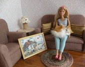 Barbie Living Room Set 1/6 Scale Sofa,Chair,Table,Lamp,Rug, Pillows, Art, and Doily