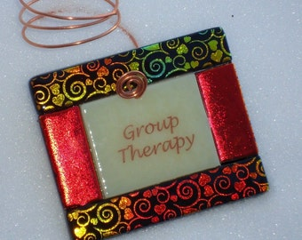 Wine Bottle Charms - Group Therapy - Fused glass bottle ornament