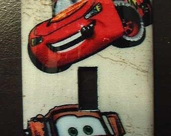 Disney Mater and or Lightning McQueen Single Toggle Light Switch Plate Cover