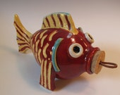 Red Yellow Fish Coin Bank with Cork Stopper - handmade pottery - in Stock