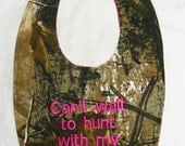 Can't wait to hunt with my Uncle - Baby Bib - Girls Hot Pink - SMALL