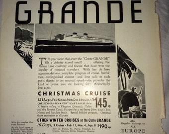 Conte Grande Italian Line Cruise ad 1932 West Indies