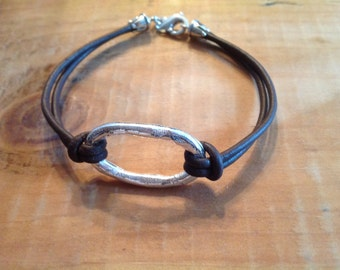 Silver PMC Oval and Leather Bracelet