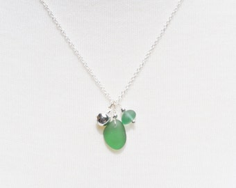 Singing Sea Glass Charm Necklace in Teal Green Sterling Silver Bell and Silver Bead 2607