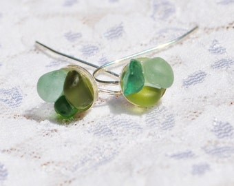 Sea Glass Jewelry Beach Wire Earrings Flowers of Color Sterling Silver 7209
