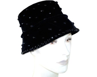 1950s Black Velvet Bucket Hat With Glass Beads by Christine Original