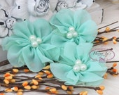 NEW: 4 pcs Lavinia MINT GREEN Soft Chiffon and Tulle w/ pearls Ruffled Fabric Flowers, Hair accessories. Headband Flowers. Scrapbooking.