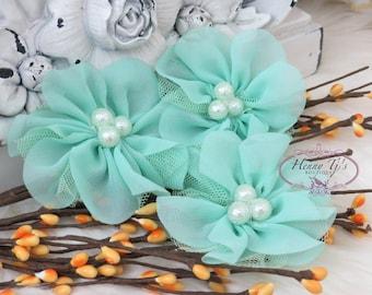 NEW: 4 pcs Lavinia MINT GREEN Soft Chiffon and Tulle w/ pearls Ruffled Fabric Flowers, Hair accessories. Headband Flowers. Scrapbooking.