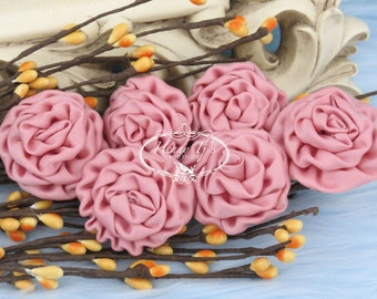 New: 6 pcs DUSTY PEACH  1.5 inch Adorable PETITE Matte Satin Rolled Rose Bud Rosettes Fabric flowers. Mini Silk Rolled Rosette Appliques.