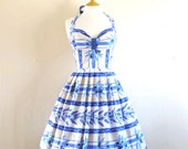 Blue and White Olive Branch Print Halterneck Bustier Dress - made by Dig For Victory