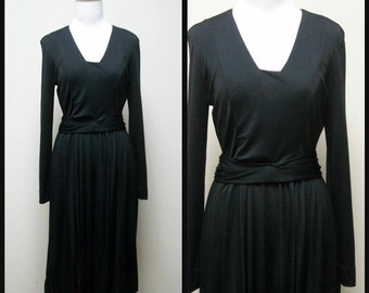 Vintage 70s JACOBSON'S Black Qiana Knit Disco Dress Size S