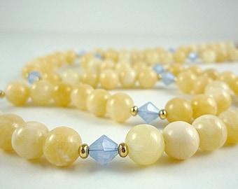 Gemstone Necklace Pale Yellow Aragonite Necklace Pale Blue Yellow Gemstone Beaded Necklace