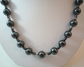 Hematite Necklace Hematite Beaded Necklace Silver Hematite Gemstone Necklace Hematite Bead Necklace Short Hematite Necklace