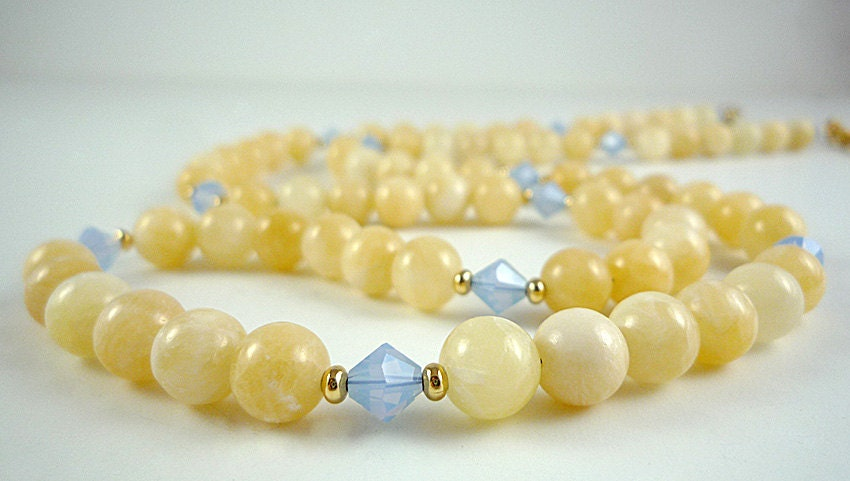gemstone necklace pale yellow aragonite necklace pale blue