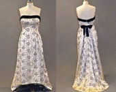 50s Dress, 1950s Strapless Party Dress, Embroidered Vintage Evening Gown, Old Hollywood Glamour